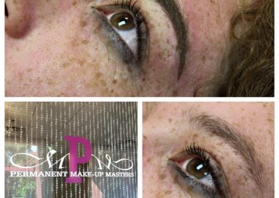 Brows will heal to a nice powder look enhancing the eyes!